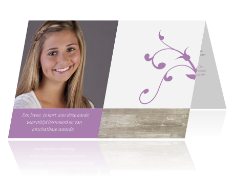 abbcbdf83fd Trendy herinneringskaart stijlvol ontwerp in paars met hout en vlakken