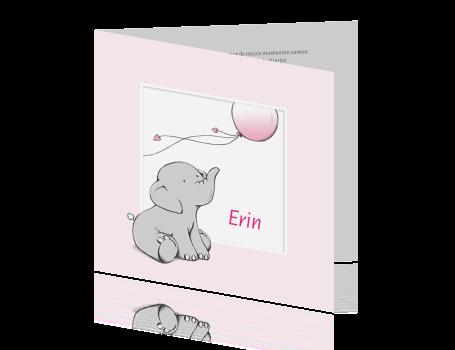 Schattig rouwkaartje baby meisje lief olifantje en ballon met hartjes